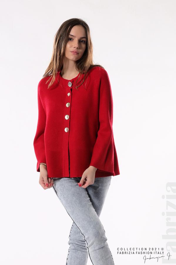 Едноцветна жилетка с копчета-mix червен 1 fabrizia