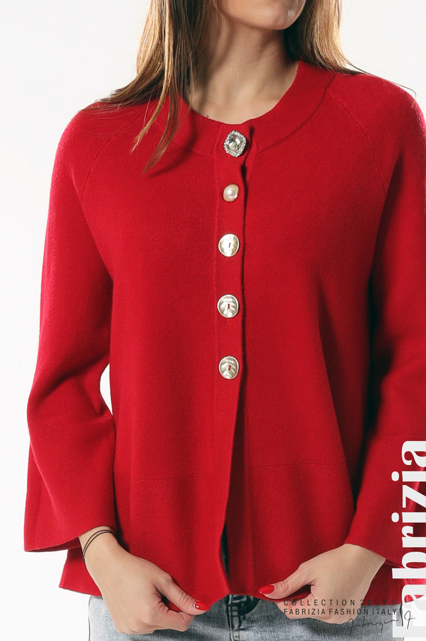 Едноцветна жилетка с копчета-mix червен 2 fabrizia