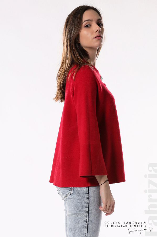 Едноцветна жилетка с копчета-mix червен 4 fabrizia