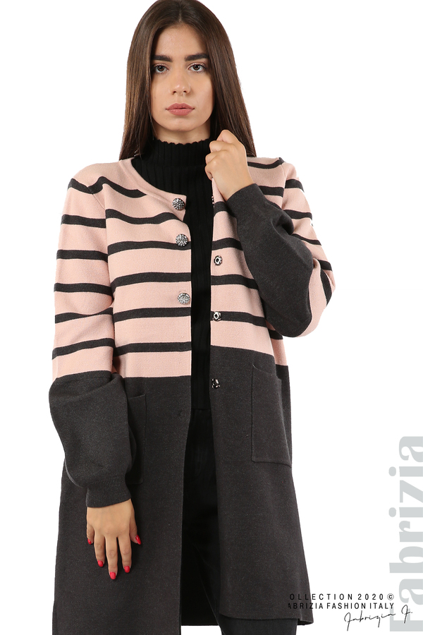 Дълга жилетка с джобове и ефектни копчета-розов/т.сив-1