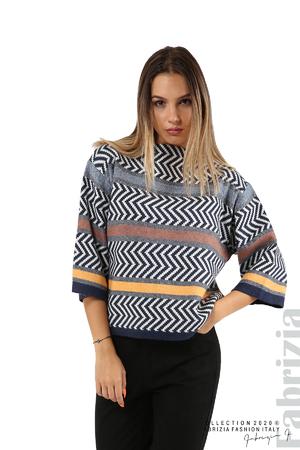 Фигурална блуза с лодка деколте