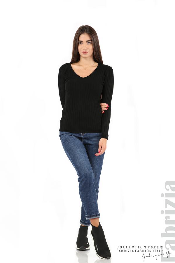 Едноцветна рипсена блуза черен 3 fabrizia