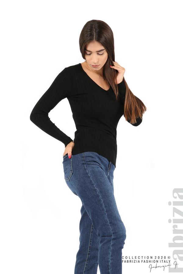 Едноцветна рипсена блуза черен 4 fabrizia