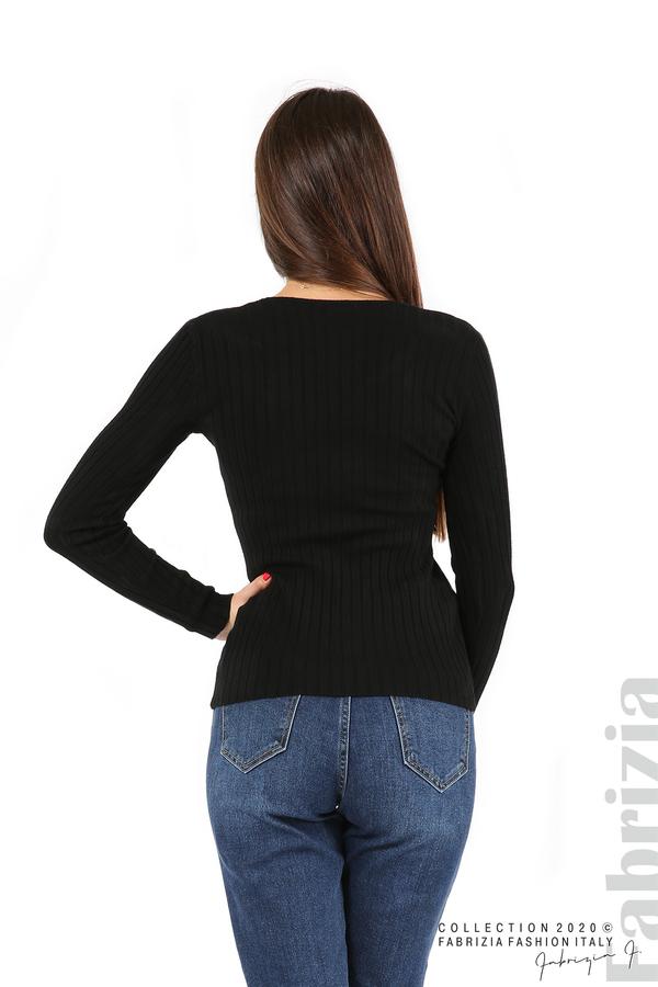 Едноцветна рипсена блуза черен 5 fabrizia