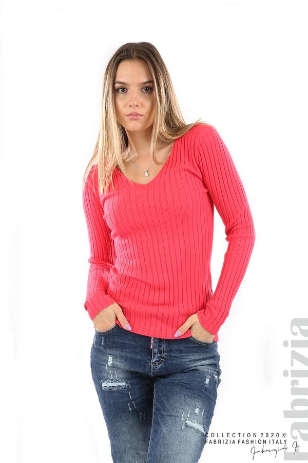 Едноцветна рипсена блуза малина 1 fabrizia