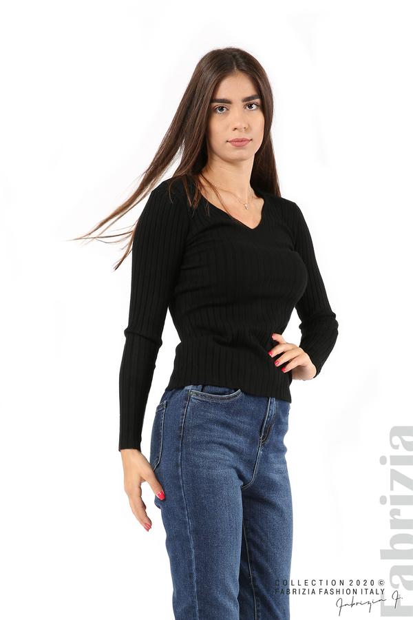 Едноцветна рипсена блуза черен 1 fabrizia