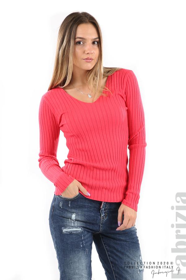 Едноцветна рипсена блуза малина 2 fabrizia