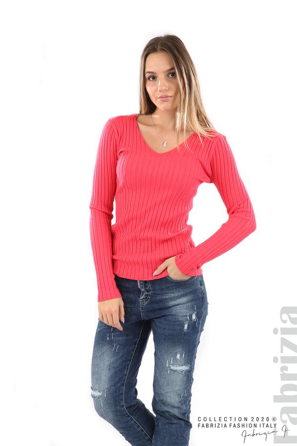 Едноцветна рипсена блуза малина 3 fabrizia