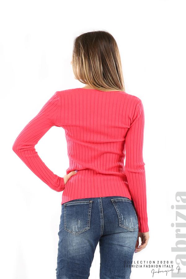 Едноцветна рипсена блуза малина 4 fabrizia