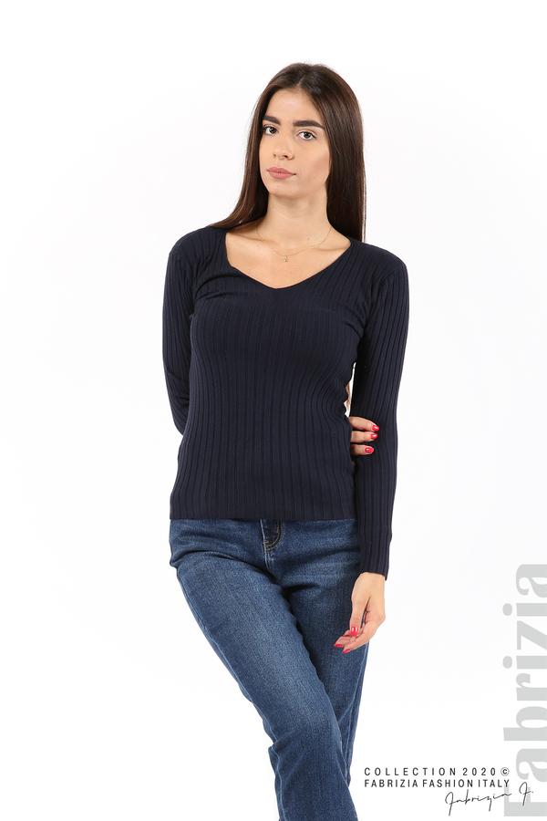 Едноцветна рипсена блуза т.син 1 fabrizia