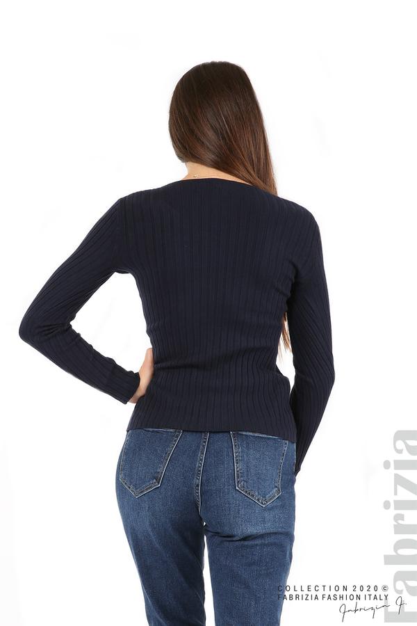Едноцветна рипсена блуза т.син 5 fabrizia