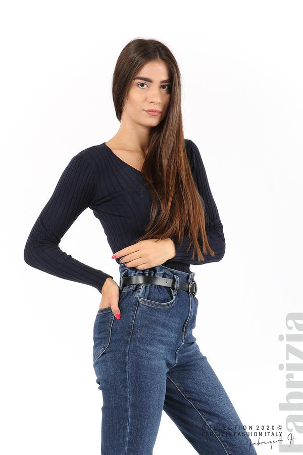 Едноцветна рипсена блуза т.син 3 fabrizia