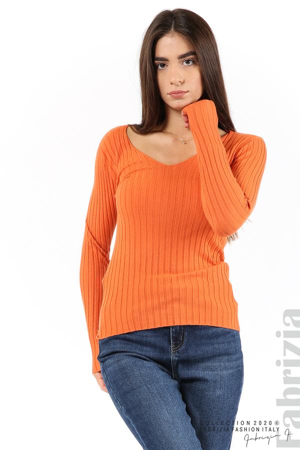Едноцветна рипсена блуза оранж 2 fabrizia