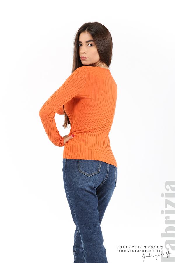 Едноцветна рипсена блуза оранж 4 fabrizia