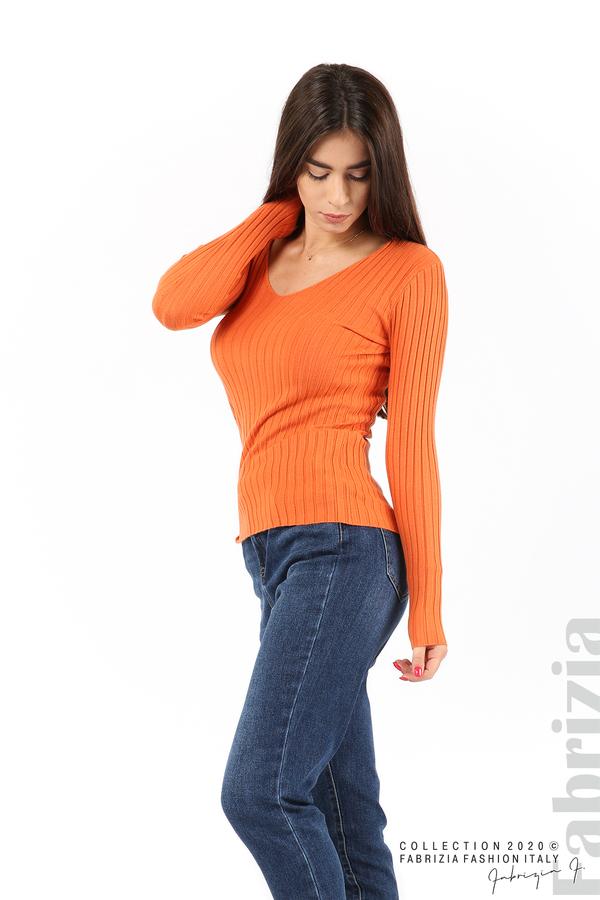 Едноцветна рипсена блуза оранж 3 fabrizia