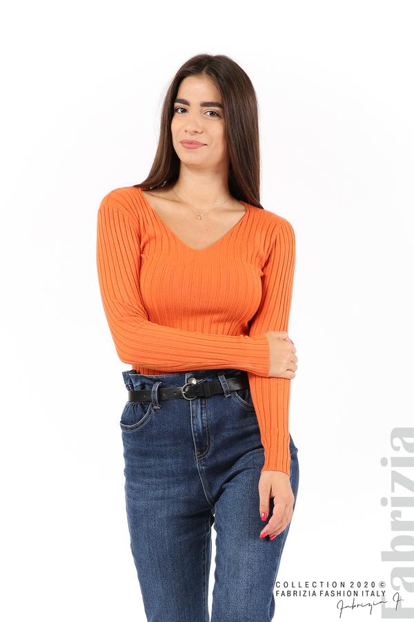 Едноцветна рипсена блуза оранж 1 fabrizia