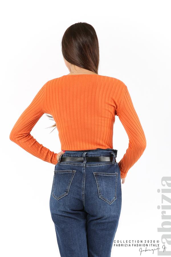 Едноцветна рипсена блуза оранж 5 fabrizia