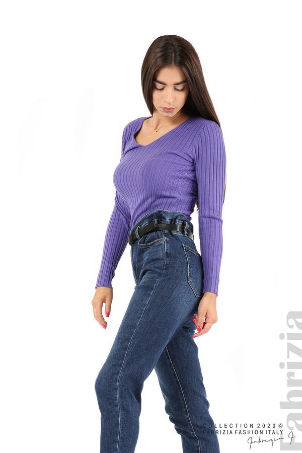 Едноцветна рипсена блуза виолетов 3 fabrizia