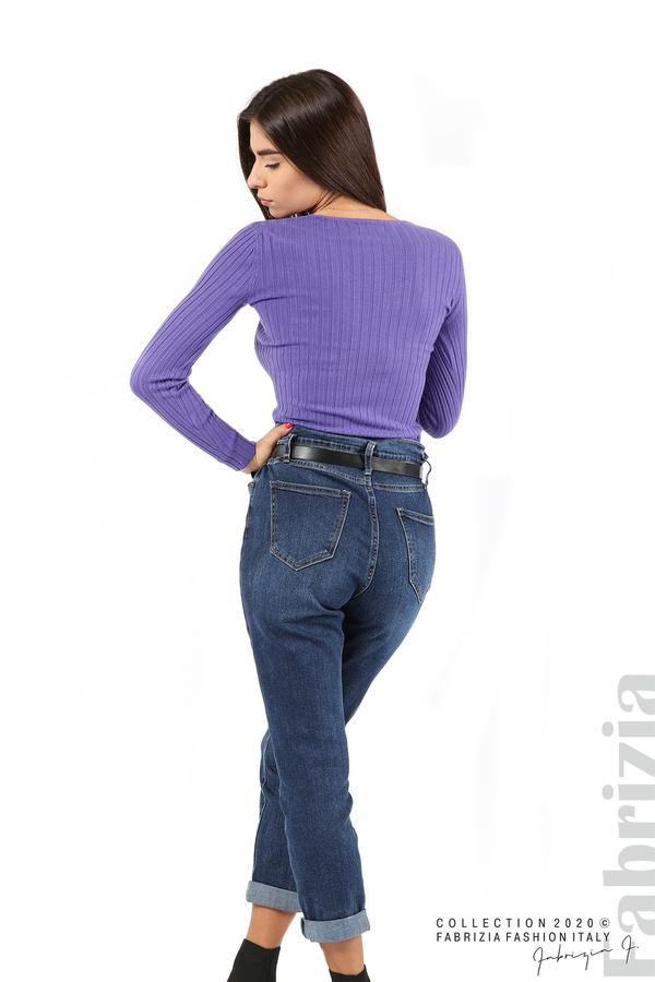 Едноцветна рипсена блуза виолетов 5 fabrizia