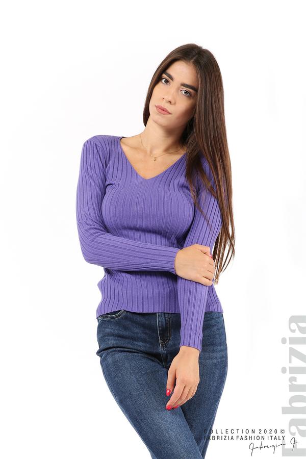 Едноцветна рипсена блуза виолетов 1 fabrizia