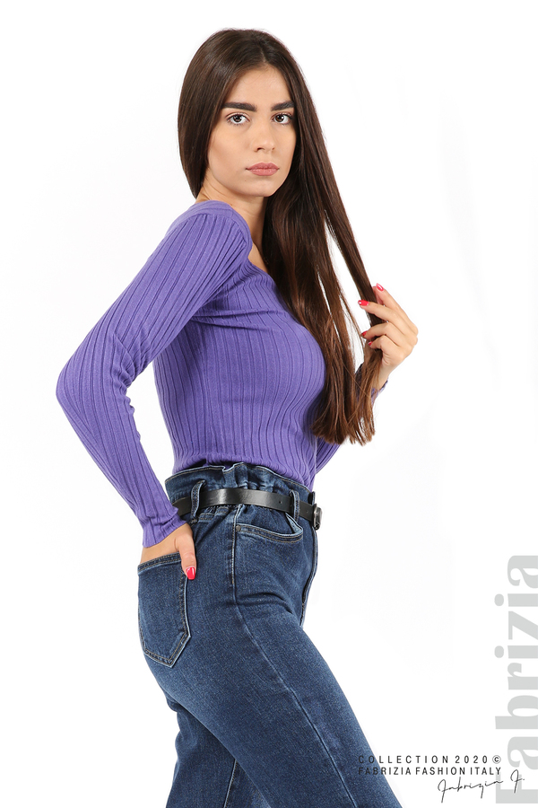 Едноцветна рипсена блуза виолетов 2 fabrizia