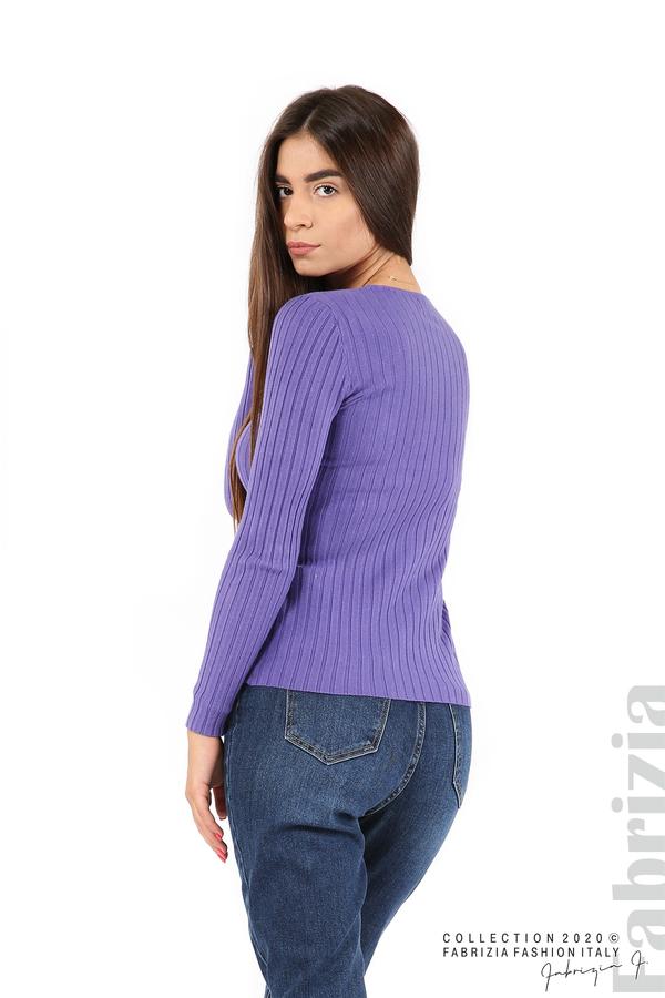Едноцветна рипсена блуза виолетов 4 fabrizia
