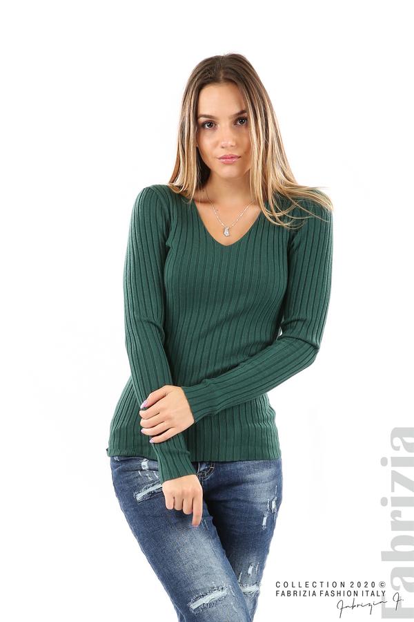 Едноцветна рипсена блуза т.зелен 1 fabrizia