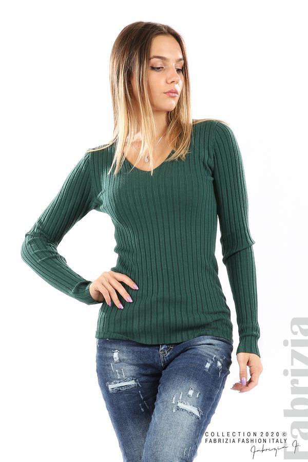 Едноцветна рипсена блуза т.зелен 2 fabrizia