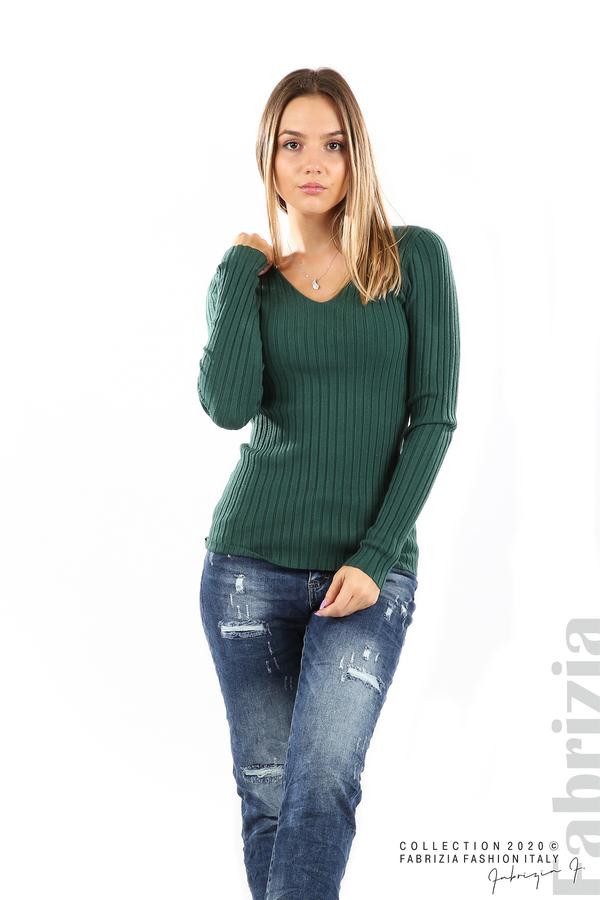 Едноцветна рипсена блуза т.зелен 3 fabrizia