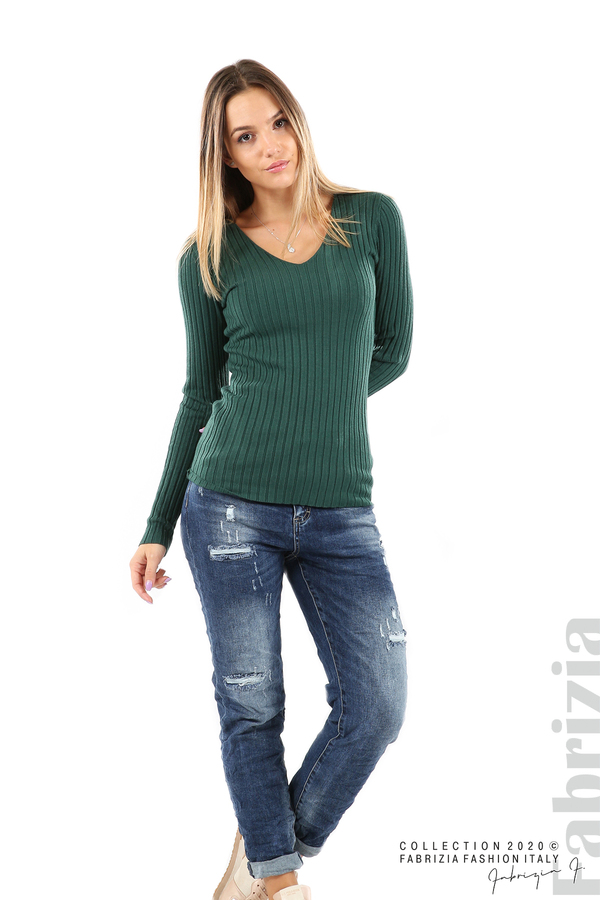 Едноцветна рипсена блуза т.зелен 4 fabrizia