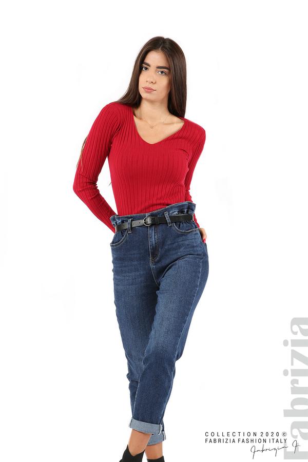 Едноцветна рипсена блуза т.червен 3 fabrizia