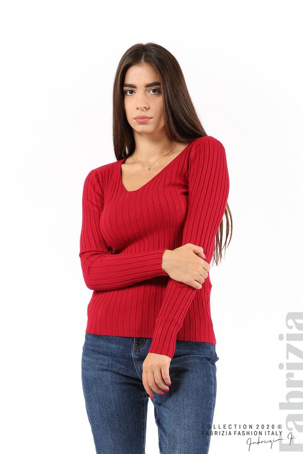 Едноцветна рипсена блуза т.червен 1 fabrizia