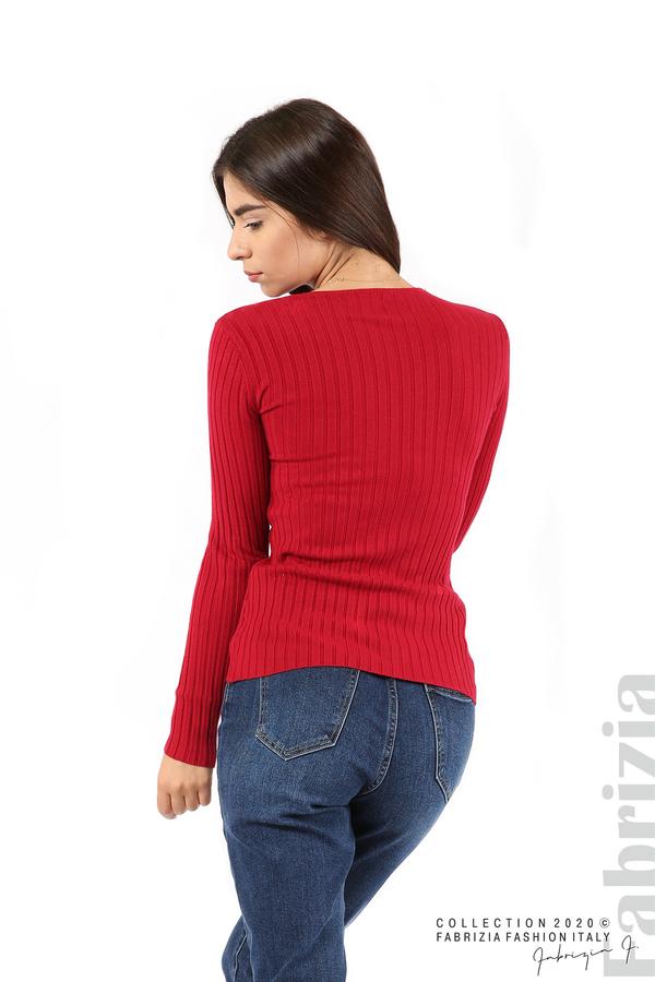 Едноцветна рипсена блуза т.червен 5 fabrizia