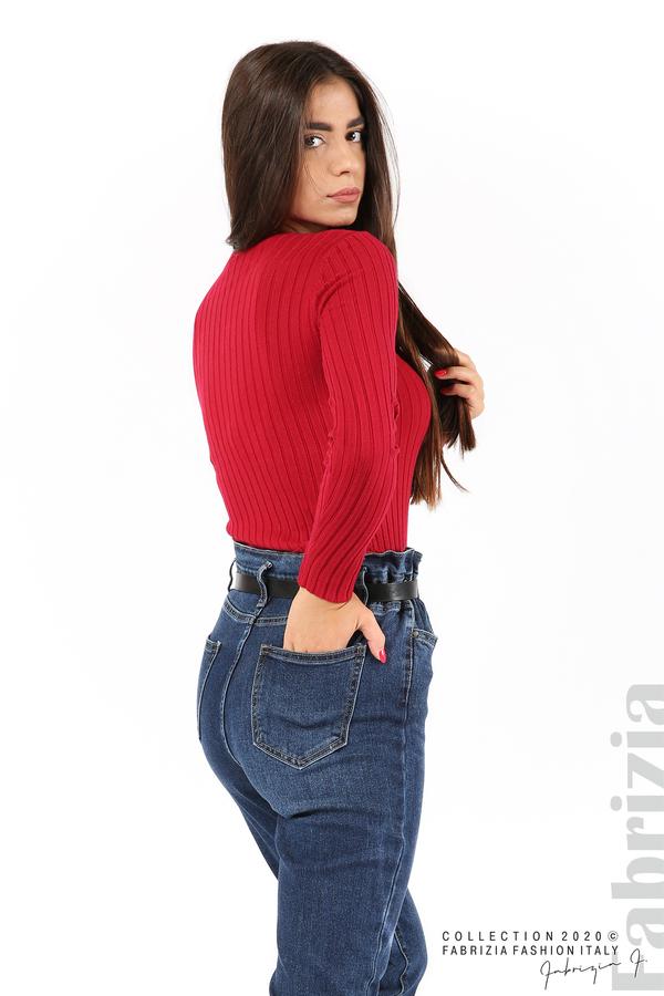 Едноцветна рипсена блуза т.червен 2 fabrizia