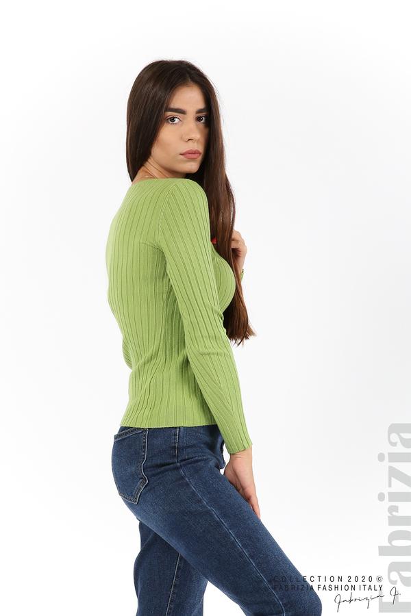 Едноцветна рипсена блуза зел.ябълка 3 fabrizia