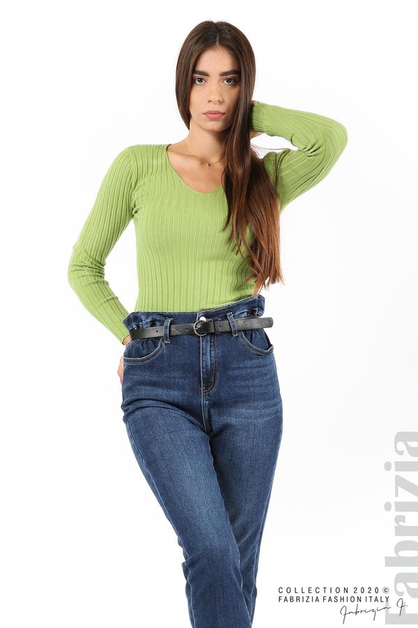 Едноцветна рипсена блуза зел.ябълка 4 fabrizia