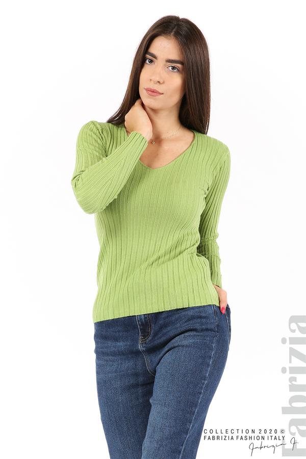 Едноцветна рипсена блуза зел.ябълка 2 fabrizia