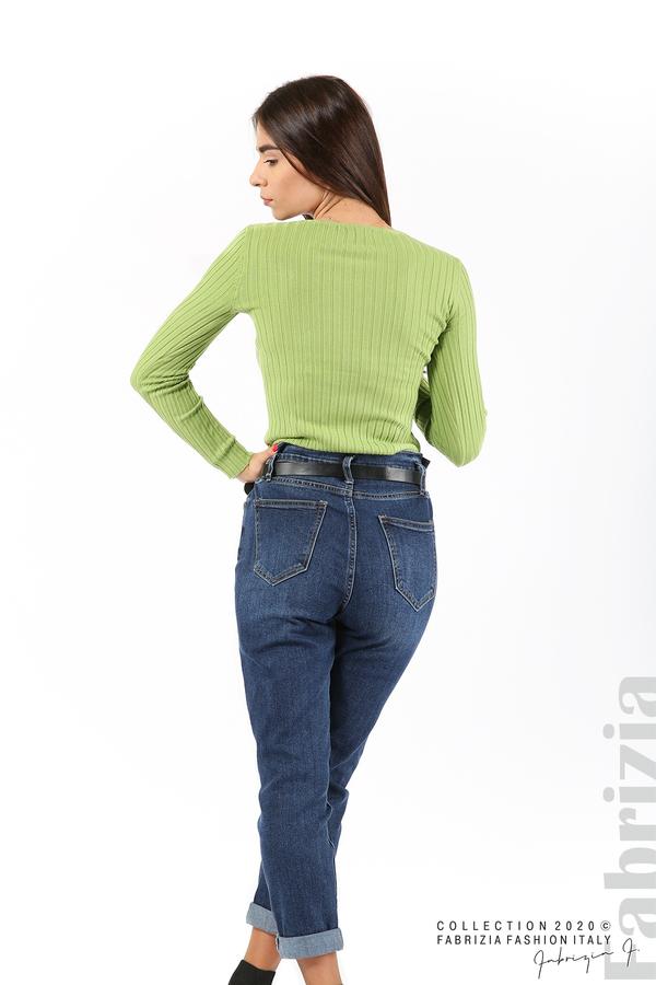 Едноцветна рипсена блуза зел.ябълка 5 fabrizia