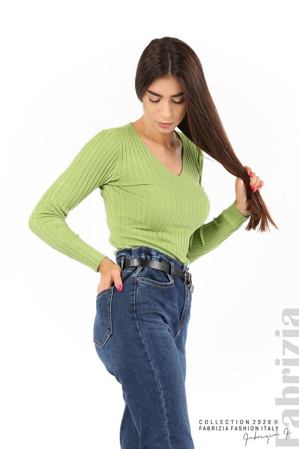 Едноцветна рипсена блуза зел.ябълка 1 fabrizia