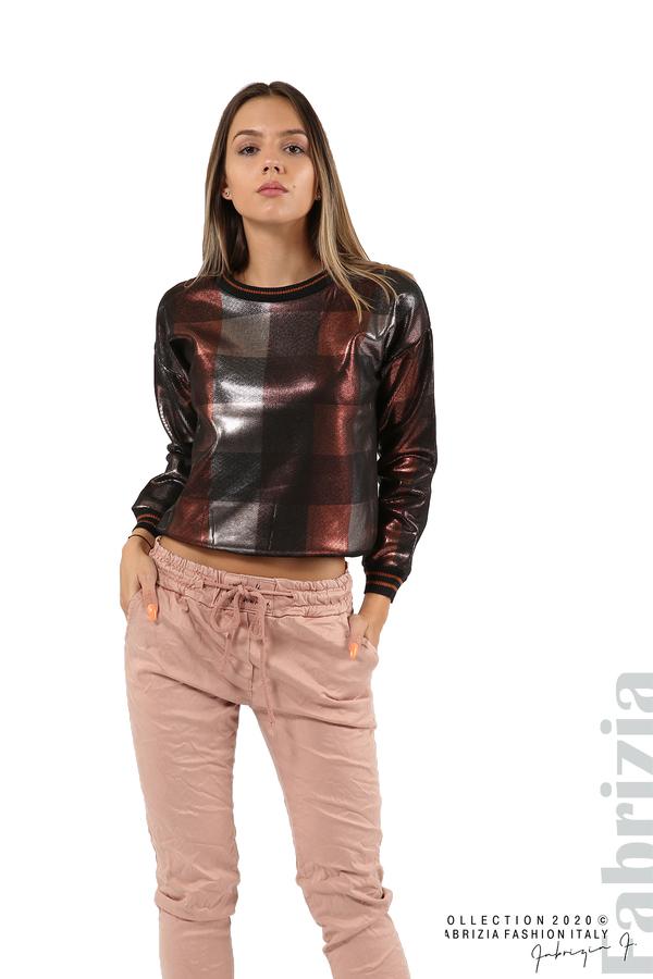 Блуза с лъскава предна част черен/т.оранж 3 fabrizia
