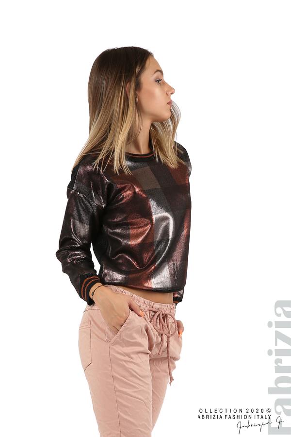 Блуза с лъскава предна част черен/т.оранж 5 fabrizia