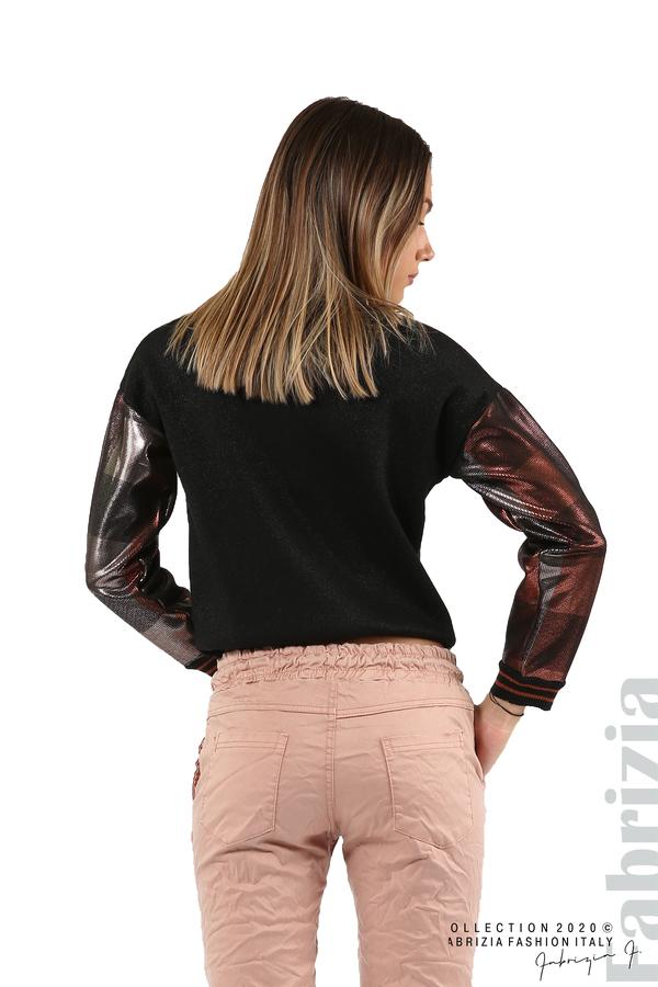 Блуза с лъскава предна част черен/т.оранж 6 fabrizia