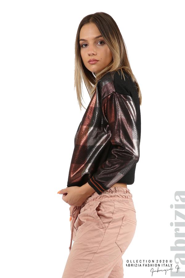 Блуза с лъскава предна част черен/т.оранж 2 fabrizia