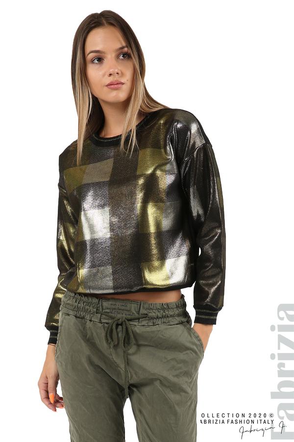 Блуза с лъскава предна част черен/жълт 2 fabrizia