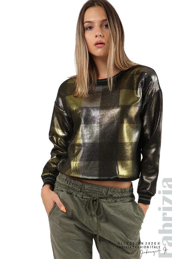 Блуза с лъскава предна част черен/жълт 5 fabrizia