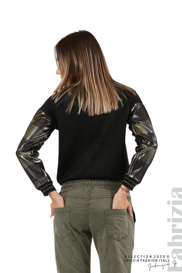 Блуза с лъскава предна част черен/жълт 6 fabrizia