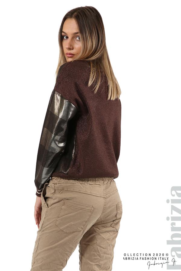 Блуза с лъскава предна част кафяв 2 fabrizia