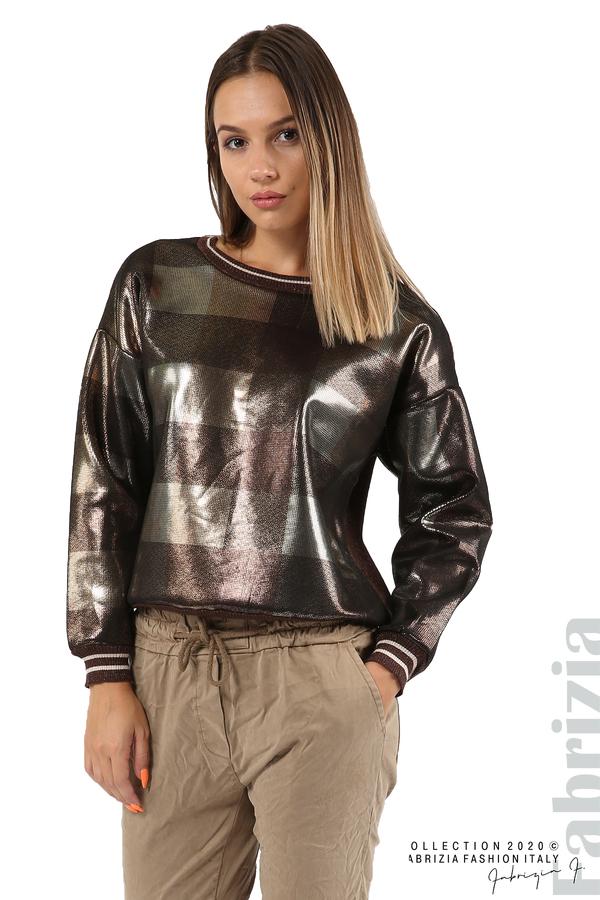 Блуза с лъскава предна част кафяв 4 fabrizia