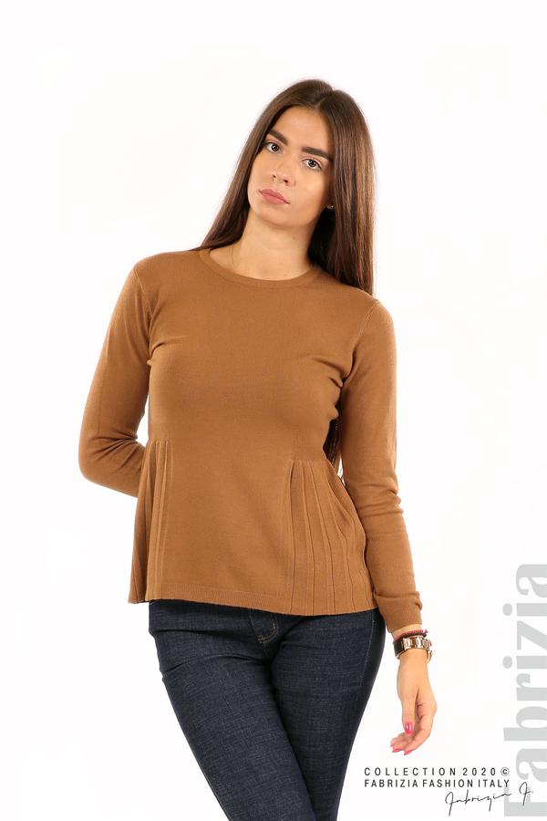 Блуза със странично плисе кафяв 1 fabrizia