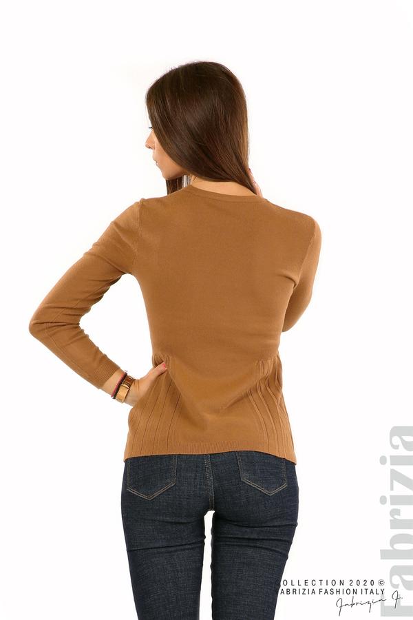 Блуза със странично плисе кафяв 5 fabrizia